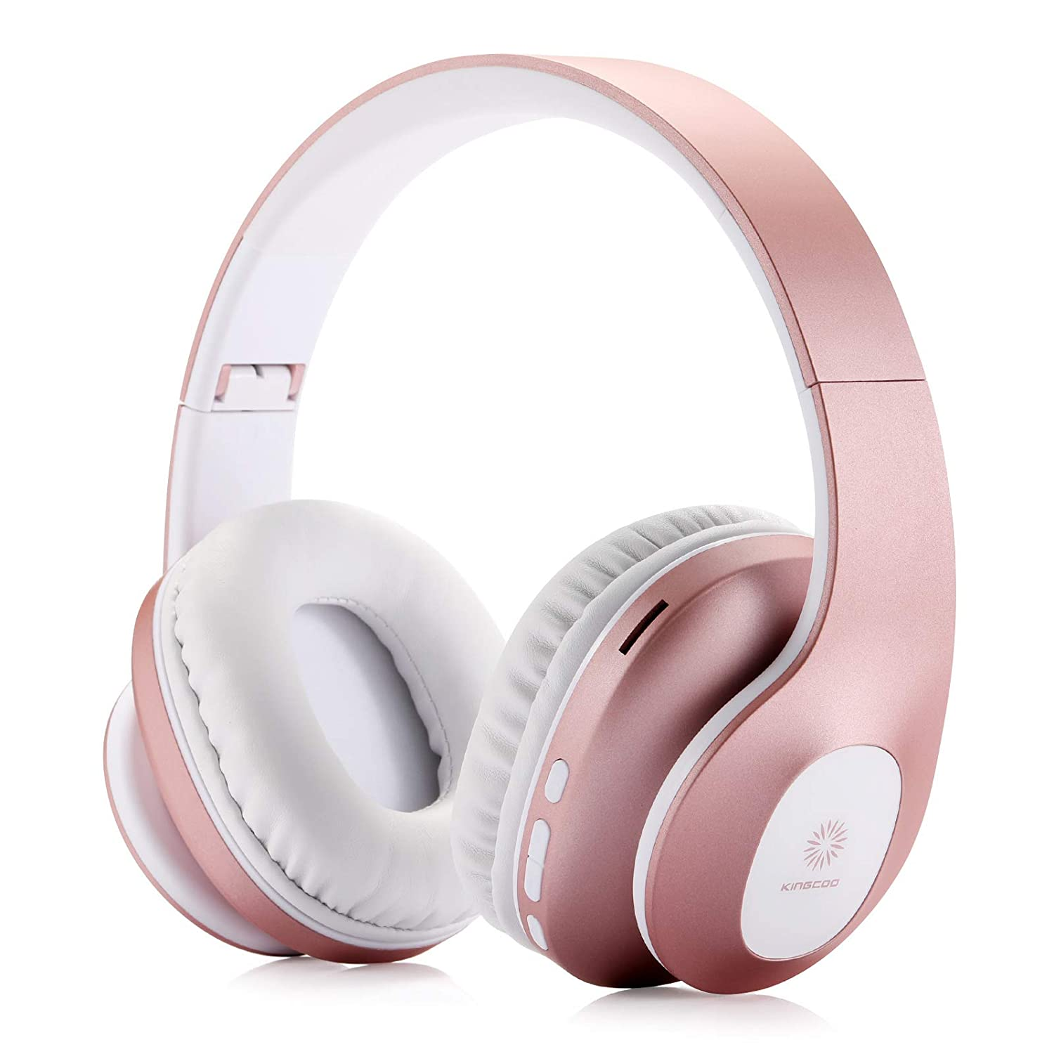 Bluetooth Over Ear Headphones,KINGCOO Wireless Headphones V5.0 with Microphone, Foldable & Lightweight Headset, Support Tf Card MP3 Mode and Fm Radio for Cellphones Laptop TV (Rose Gold)