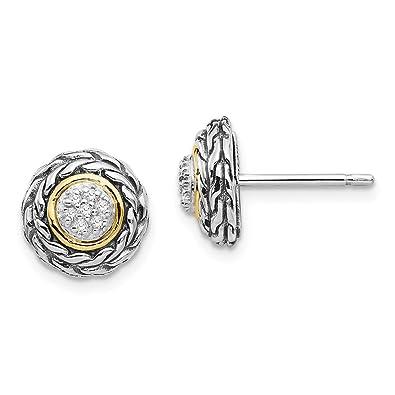 5ffa1c3e24a3 Hielo quilates plata de ley 925 14 K Diamante Post pendientes de botón bola  fina joyería Set de regalo para las mujeres Corazón  ICE CARATS  Amazon.es   ...