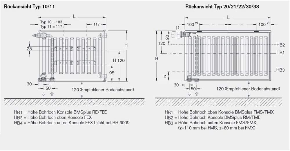 BL: 2000 mm Halter L/ängen Buderus Logatrend Ventil-Flachheizk/örper VC-Profil Typ 22 BH 600 vers