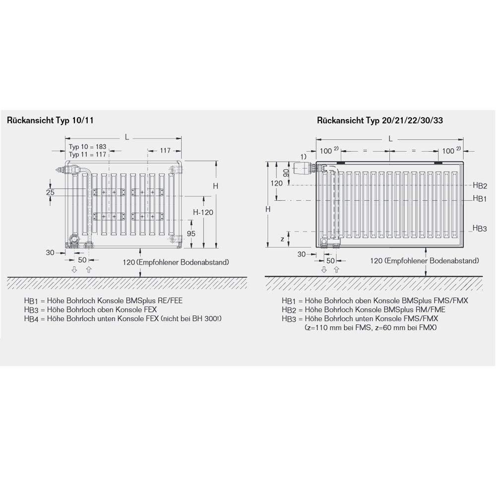 Halter L/ängen Buderus Logatrend Ventil-Flachheizk/örper VC-Profil Typ 21 BH 600 vers BL: 2300 mm
