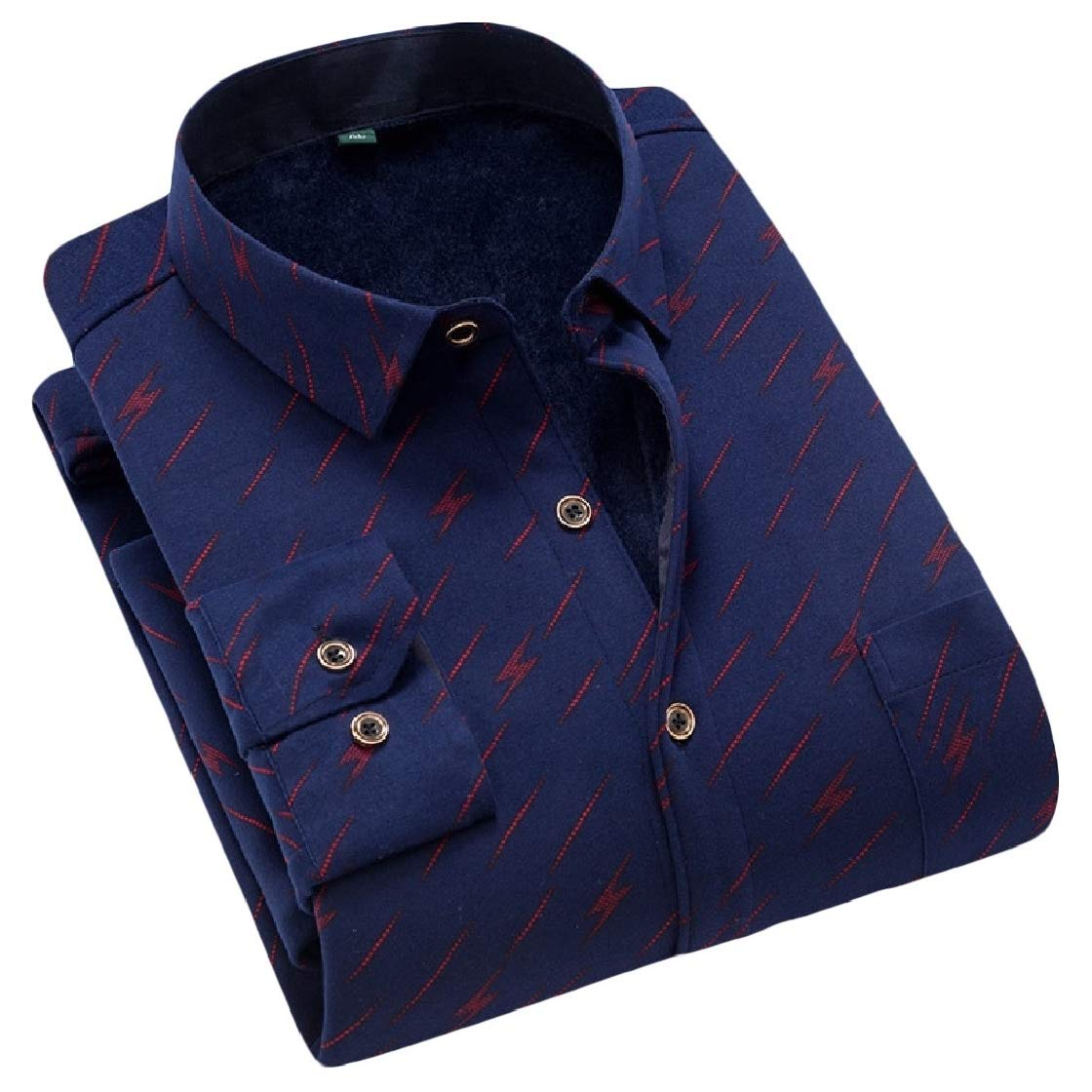 YUNY Mens Thicken Open Front Trim-Fit Turn Down Collar Printed Warm Western Shirt AS18 M