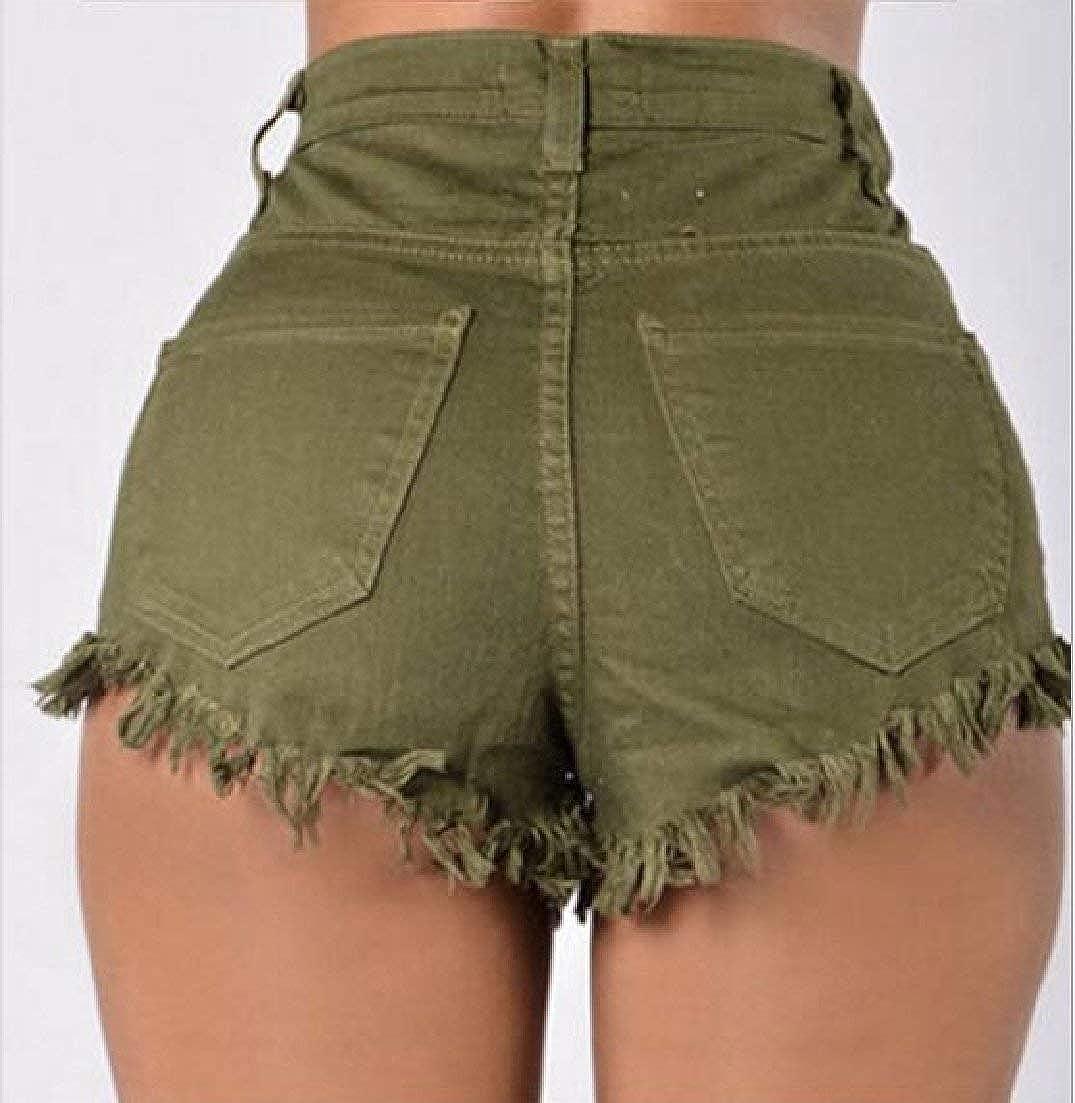 Alion Womens Fashion Hole Destroyed Denim Jeans Short Hot Pants