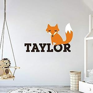 "Custom Name Fox Animal Series - Baby Boy Wall Decal Nursery for Home Bedroom Children (IJ11) (Wide 22"" x 13"" Height)"