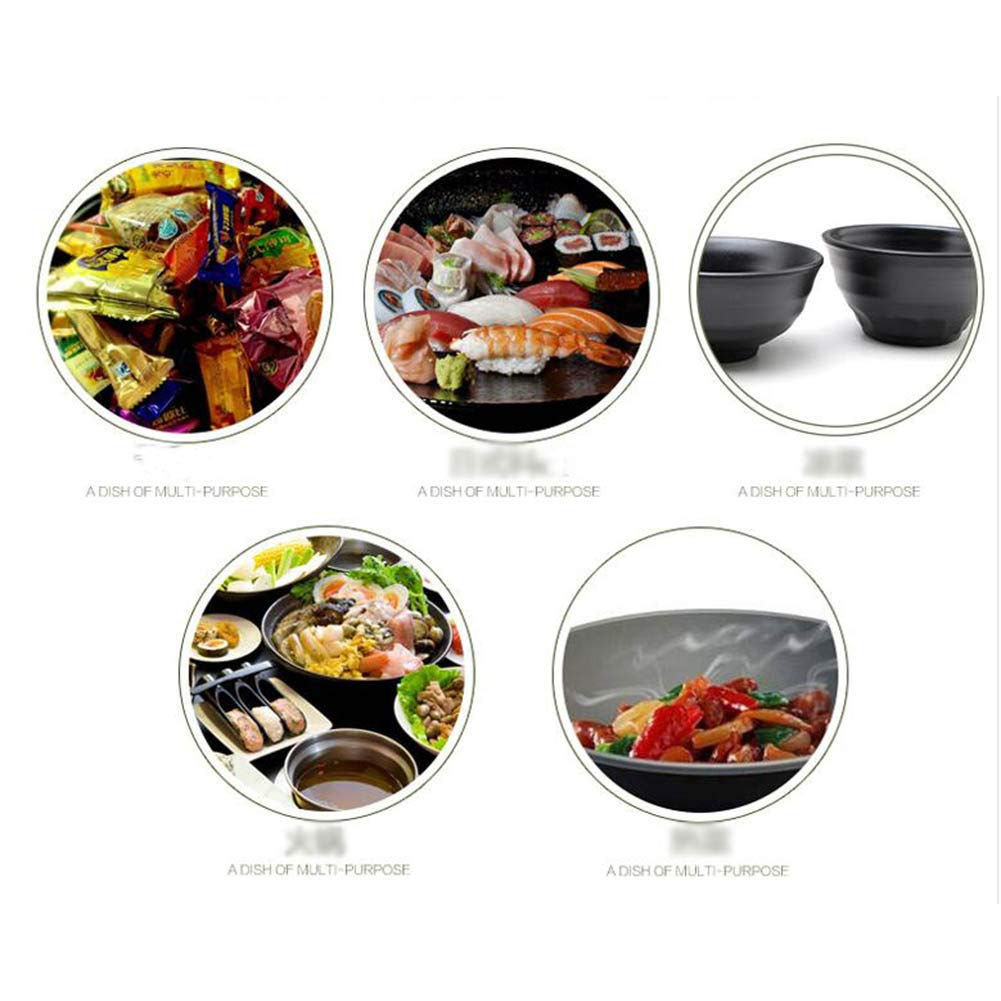 2 PCS Japanese Style Melamine Bowls Soy Sauce Dish Dipping Bowls Rice Bowl Black-A29