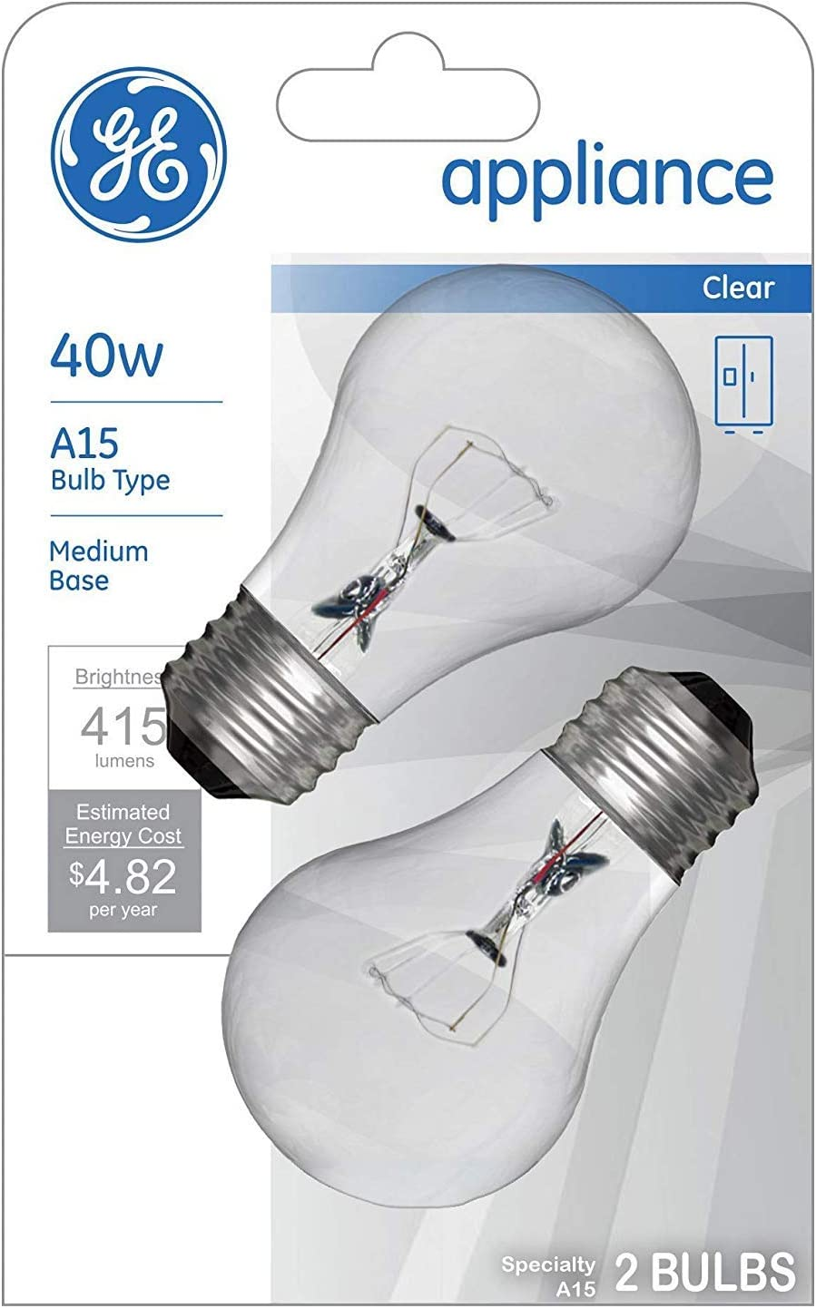GE Appliance Clear Light Bulb 40w, A15 Bulb Type, Medium Base   415 Lumens   2-Count per Pack (1-Pack)