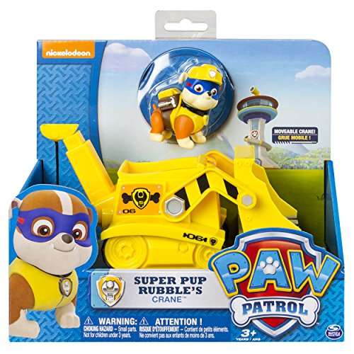Paw Patrol Super Pup Rubble's Crane, Vehicle and Figure (works with Paw Patroller)