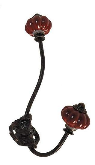 Antic Line - Perchero con 2 ganchos, porcelana roja: Amazon ...