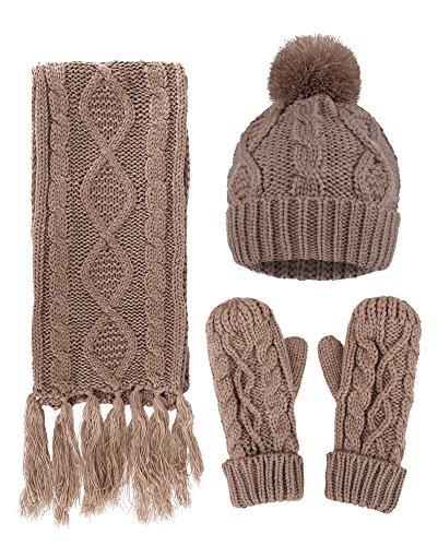 Women's Warm Winter Snow Gloves Mittens Beige - 8