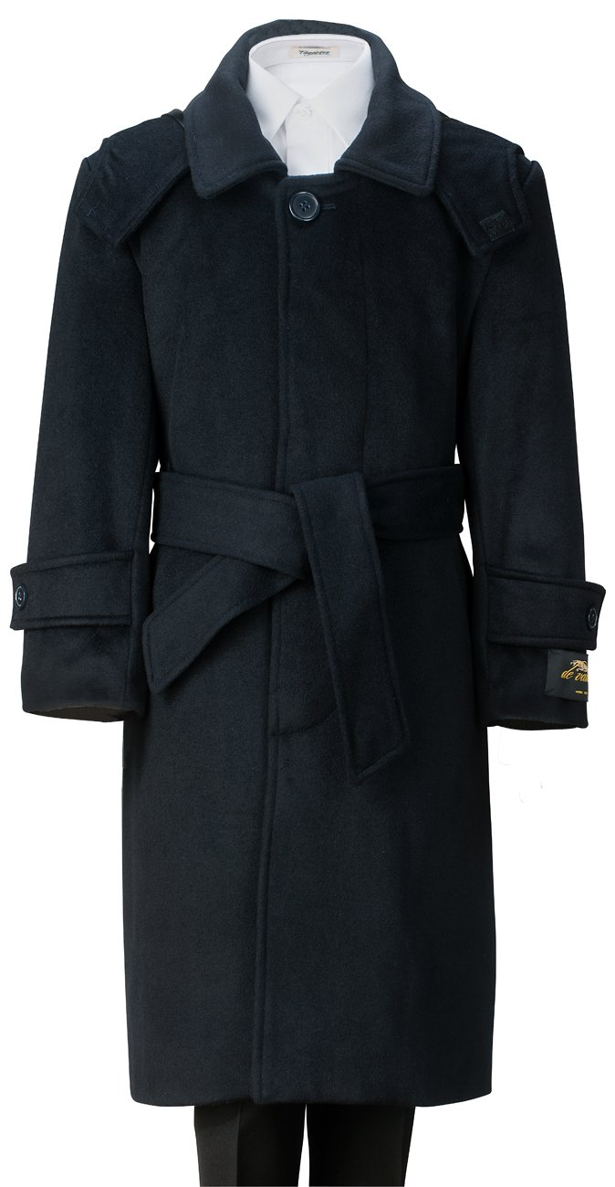 De Valoure Boys' Navy Warm Winter Long Formal Dress Wool Coat with Hood & Belt Great for Holidays, Parties, Holiday Gift, & All Formal events 7 by De Valoure