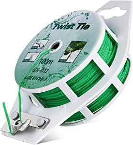 All-Purpose 328 feet Twist Ties - Multifunctional Twist Plant Ties with Cutter, for Plants Support Garden Office and Home Cable Organizing (328 Feet/ 100m, Green, Set of 1)