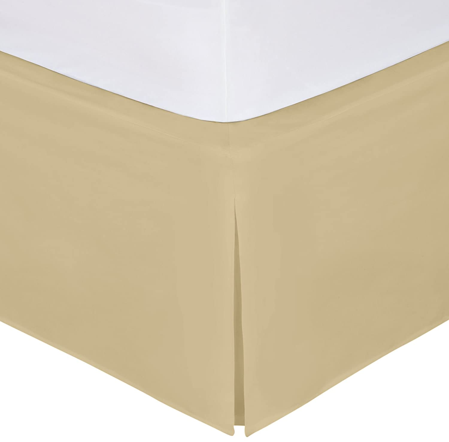 """Magic Skirt Tailored Bedskirt, Never Lift Your Mattress, Classic 14"""" drop length, Pleated Styling, King, Mocha"""