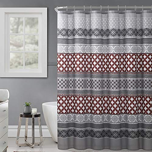 """Hudson & Essex Gray, Rust and Black Fabric Shower Curtain with Printed Trendy Eclectic Geometrical Design, 72"""" x 72"""""""