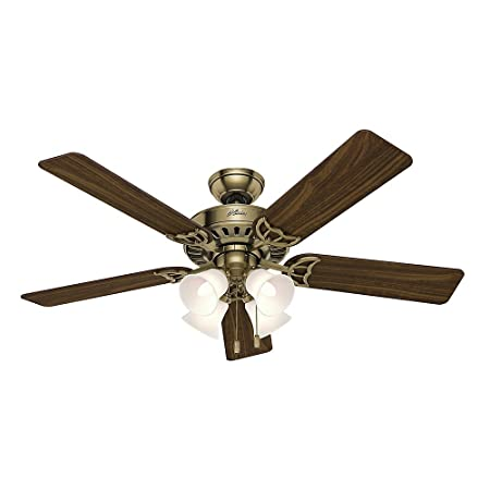 Hunter 53063 Studio Series 52-inch Antique Brass Ceiling Fan with Five Walnut Medium Oak Blades and Light Kit