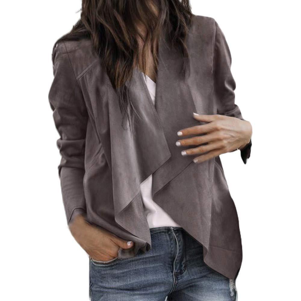 Sixcup Ladies Smart Jersey Waterfall Cardigan Leather Long Sleeves Blazer Bolero Open Front Coat Blazer Jacket