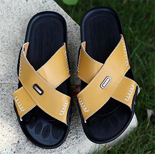 insun Herren Leder Nähten Slipper Sandale Gelb