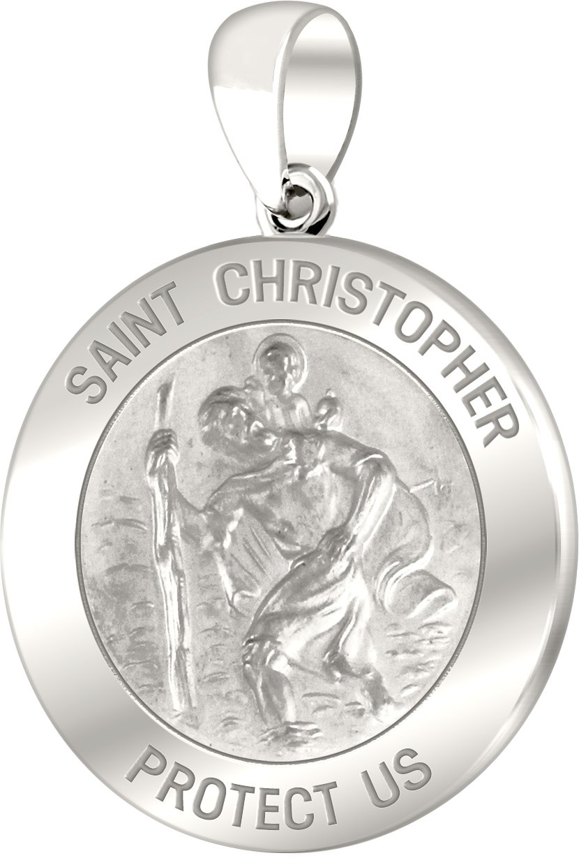 Men's 14k White Gold St Christopher Round Polished 1'' Hollow Pendant