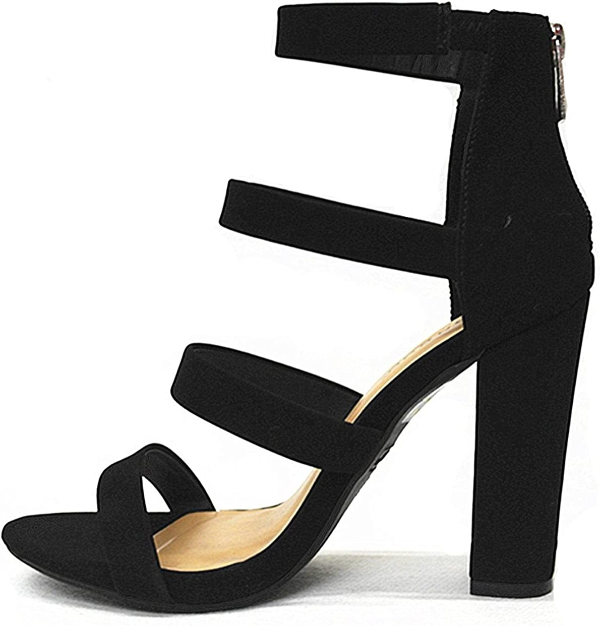 SF Bamboo Limelight-49 Womens Four-Band Zip Chunky Heeled Sandals