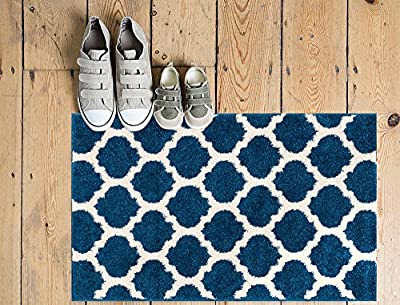 "Tinsley Light & Dark Blue Moroccan Trellis Modern Geometric Pattern 3'3"" x 5 Area Rug Soft Shed Free Easy to Clean Stain & Fade Resistant"