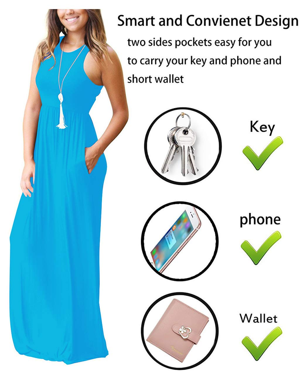 3739886caba0 GRECERELLE Women's Sleeveless Racerback Loose Plain Maxi Dresses Casual  Long Dresses with Pockets Nile Blue-XL < Dresses < Clothing, Shoes &  Jewelry - tibs