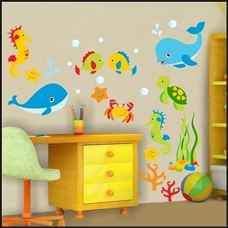 Mundo submarino peces pegatinas de pared para niños habitación pegatinas de pared pared arte 922, multicolor, 225cm / 64cm: Amazon.es: Bebé