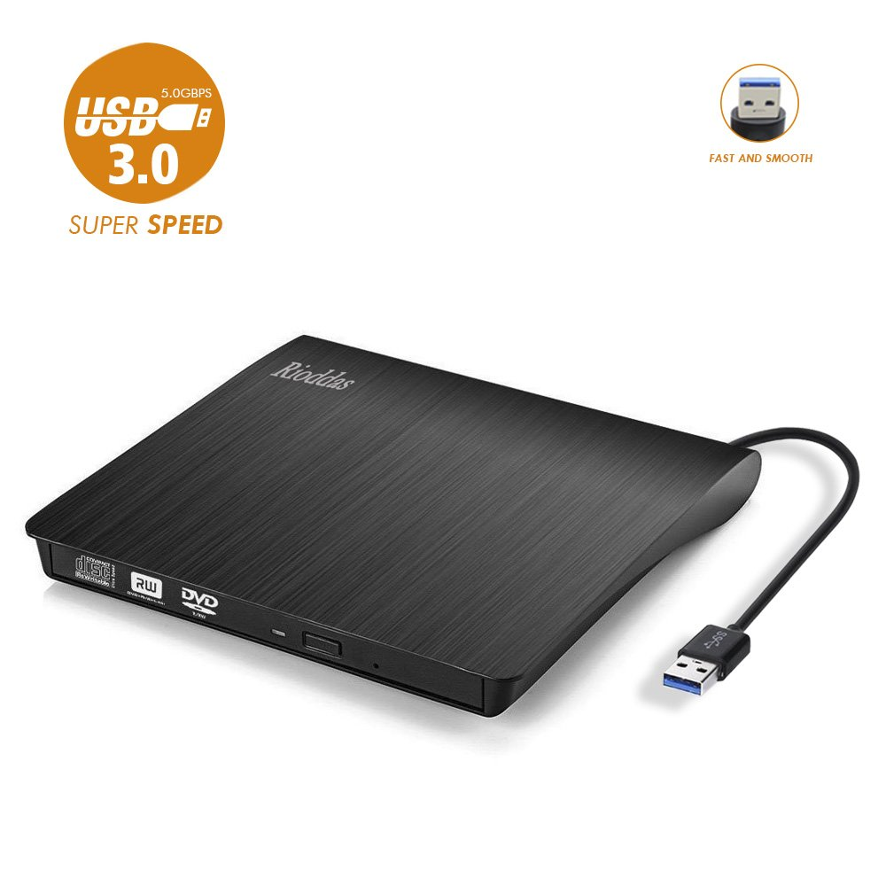 Rioddas External CD Drive, USB 3.0 Portable CD/DVD +/-RW Drive Slim DVD/CD ROM Rewriter Burner Superdrive High Speed Data Transfer for Laptop Desktop PC Windows and Linux OS Apple Mac Macbook