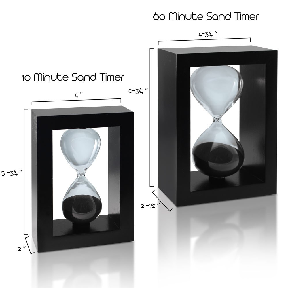sand timer hourglass black set  time management system  60