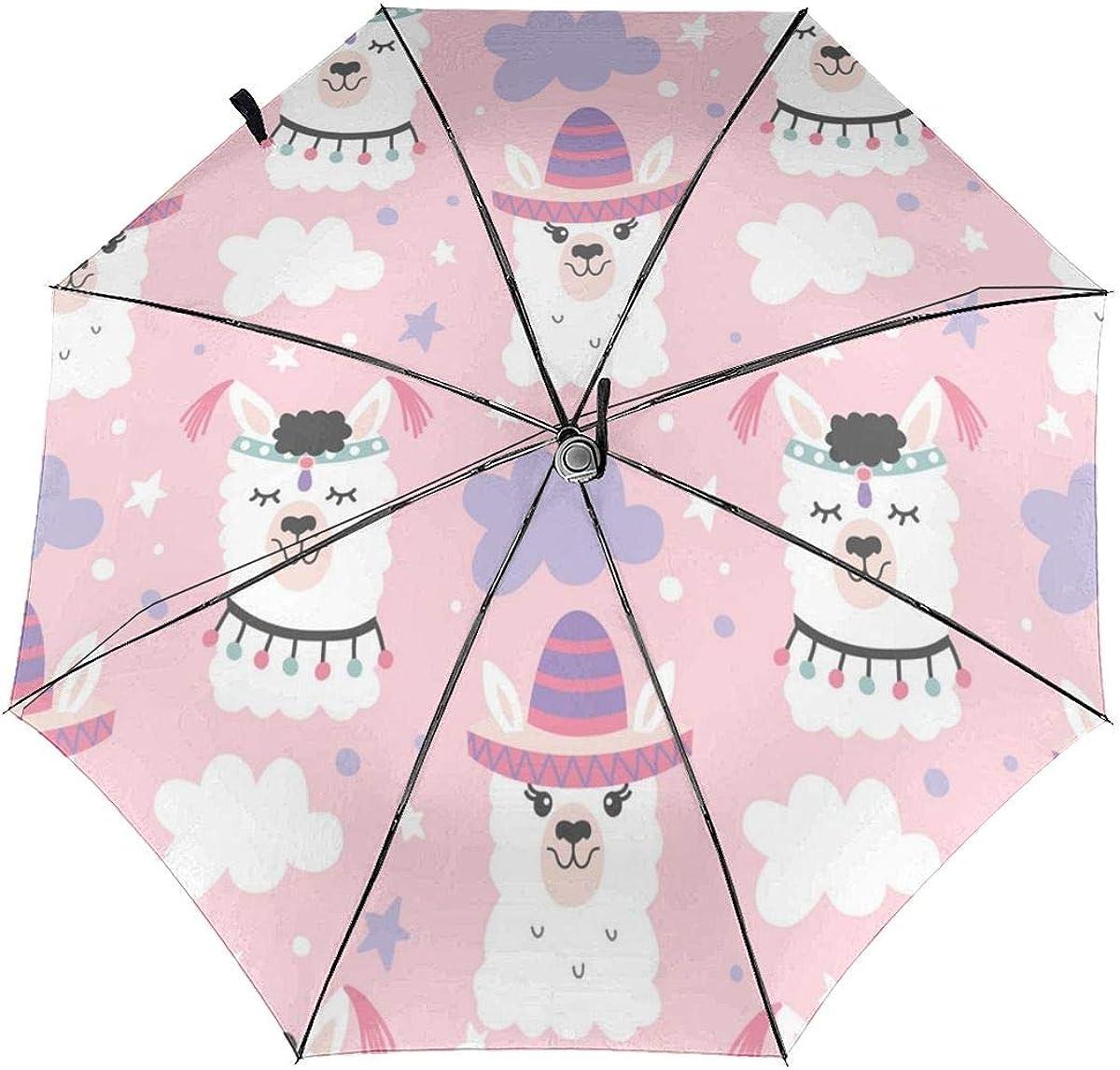 Cartoon Llama Alpaca Seamless Pattern Compact Travel Umbrella Windproof Reinforced Canopy 8 Ribs Umbrella Auto Open And Close Button Personalized