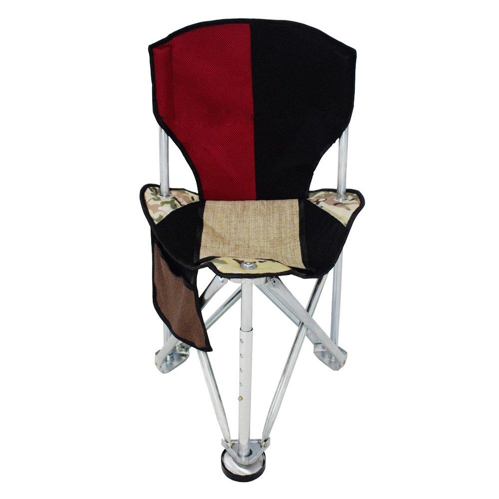 GEERTOPキャンプ折りたたみ三脚椅子Stool with Back RestメッシュポケットHeavy Dutyスチールfor Backpackingハンティング釣りまたはボートキャビン B076CGHR8C レッド レッド