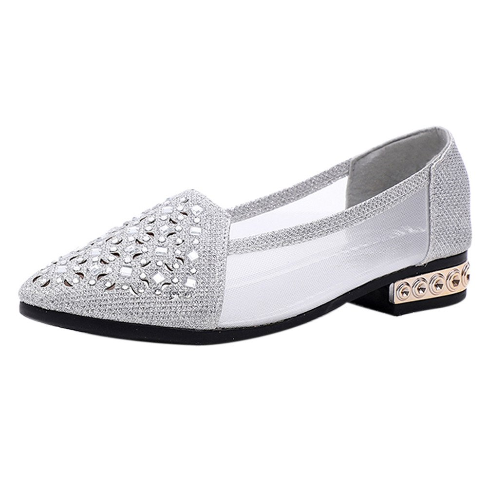 Clearance Sale Shoes  For Shoes,Farjing Women Flat Shoes Ballet With Low Heel Metal Pointed Toe Flats Hollow Out Shoes (US:5,Silver )