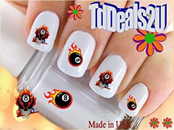 Amazon Sports Pool 8 Ball Flame Skull Nail Decals