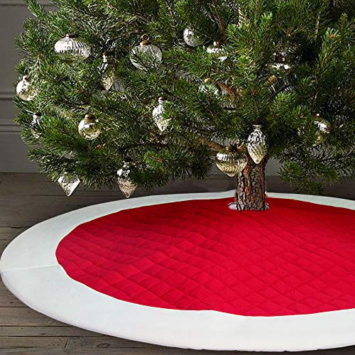 - Ivenf 48 inch Large Thick Luxury Quilted Christmas Tree Skirt, Rustic Xmas Tree Holiday Decorations, Red White
