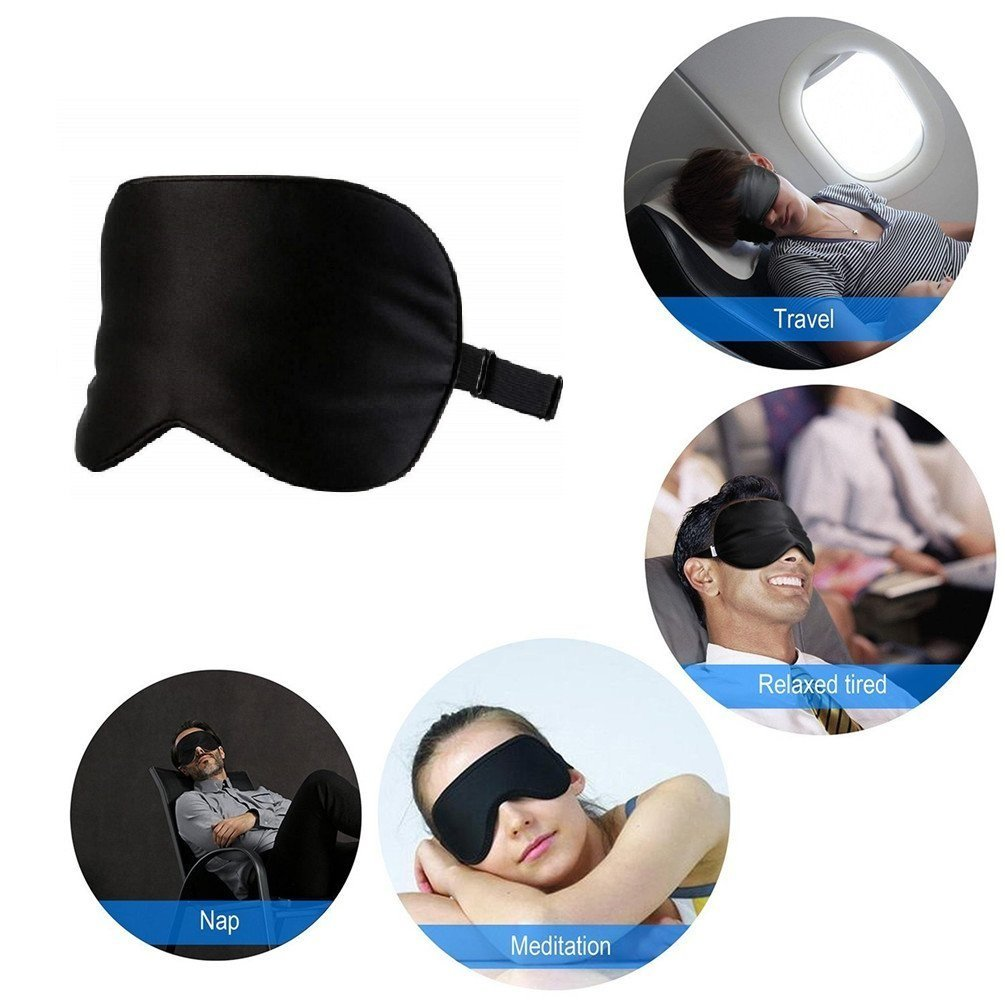 Long Silk Fiber Padding Sleeping Eye Mask with Adjustable Strap for Men Skin friendly Best seller! Sleeping mask 100/% Natural Night /© Occulting Soft and light Women and Kids