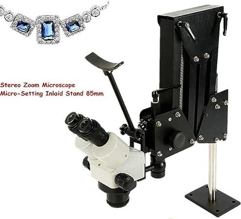 HYYKJ Microscope Jewelry Inlaid Stand and Multi-Directional Microscope Binocular Stereo Zoom 7X-4.5X Micro Inlaid Mirror Spring Bracket Micro-Setting Microscope Jewelry Making Tool 85mm Bracket Hole
