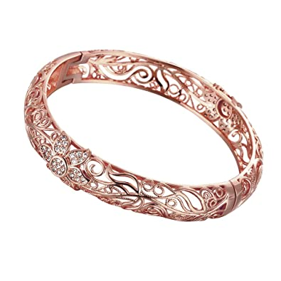 18K Rose Gold Plated Flower Pattern Bangle Bracelets with Australia Crystal zGq9dF