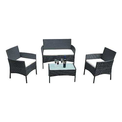 B M Rattan Coffee Table: 4 Seater Rattan Garden Furniture: Amazon.co.uk