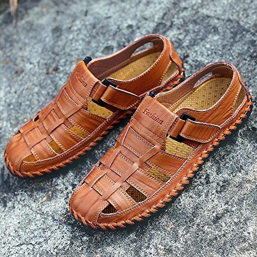 de de transpirable Sandalias cerrado playa al libre hombres zapatos dedo informal pie cuero Zapatos marrón de hueco verano trekking aire Sandalias los de de del CwTxXqZOq