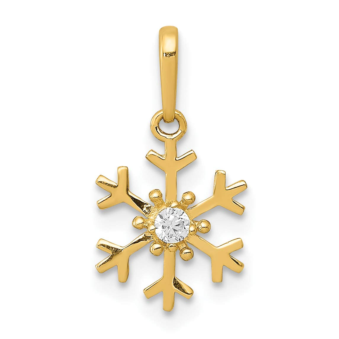 14k Yellow Gold Polished Snowflake Pendant with CZ Center Stone 9x8mm