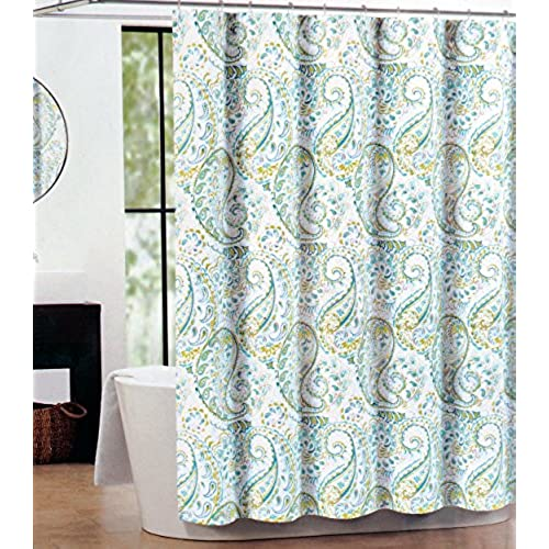 Captivating Tahari Fabric Shower Curtain Teal, Green, Gray Hayden Paisley By Tahari Home