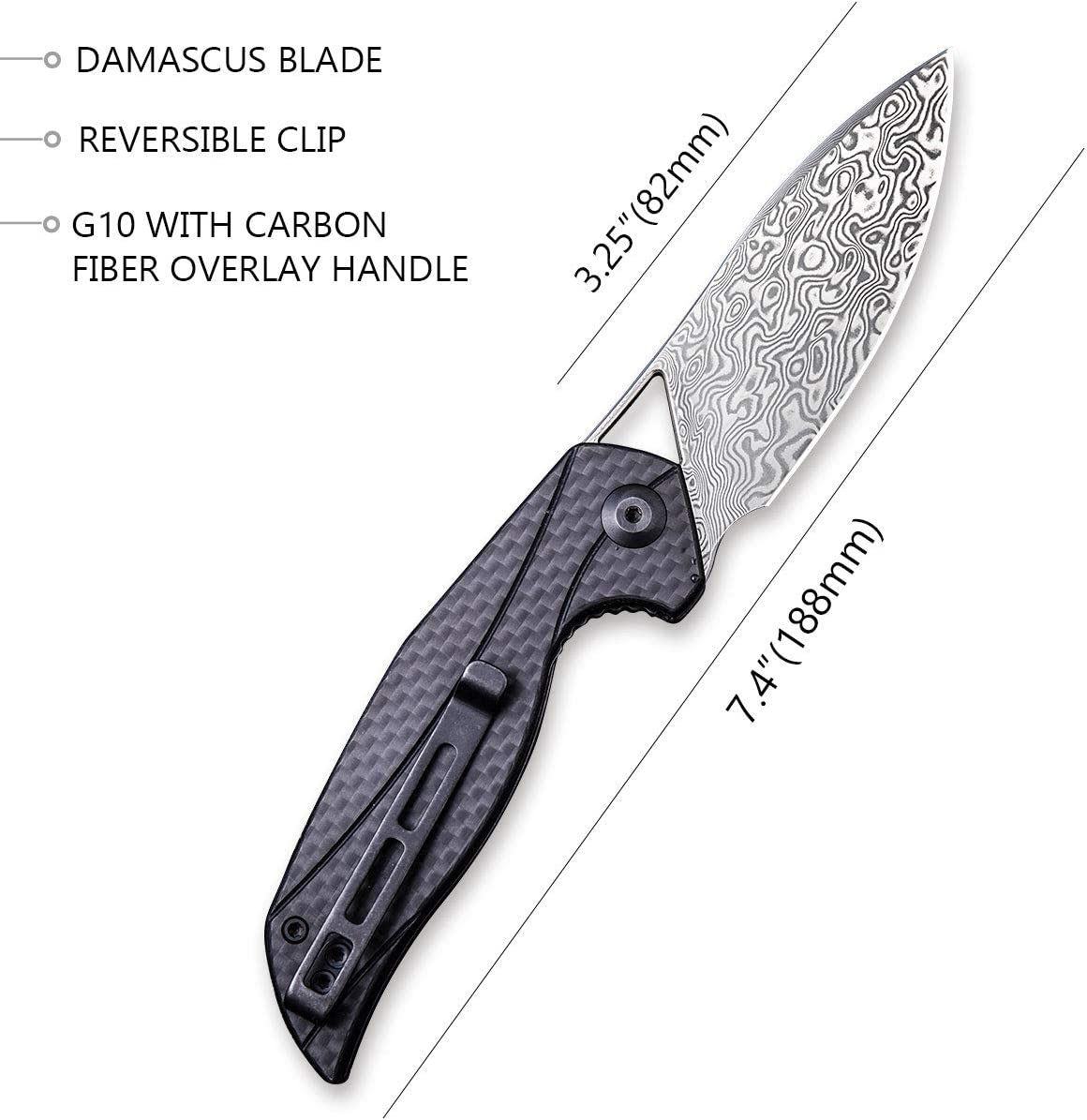 Civivi Anthropos Damascus Pocket Knife – Liner Lock Tactical Knife with 3.25in Damascus Blade – Solid Hunting Knife with Reversible Clip for Survival,Camping and Outdoor Carry C903DS