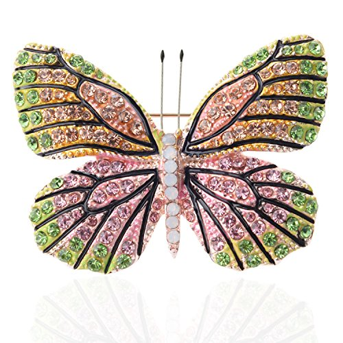 TAGOO Elegant Winged Butterfly Vintage Colorful Rhinestone Brooch Pin in Crystal for Women&Girls (Green&Pink)