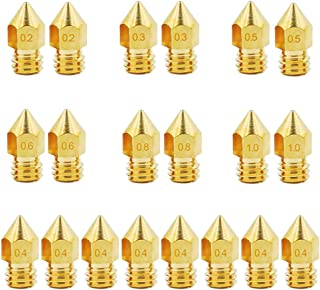 KeeYees 20pcs 3D Printer Nozzle, MK8 Extruder Hotend Brass Nozzle Print Head with 7 Size 0.2mm 0.3mm 0.4mm 0.5mm 0.6mm 0.8mm 1.0mm for 1.75mm Filament 3D Printer Makerbot Anet A8/A6 Creality CR-10