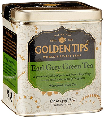 Tips Loose Leaf - Golden Tips Loose Leaf Earl Grey Green Tea - Tin Can, (50 cups) 100 gm/3.53 Oz