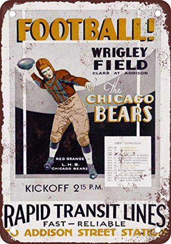 """9"""" x 12"""" Metal Sign - 1929 Chicago Bears Schedule - Vintage Look Reproduction"""