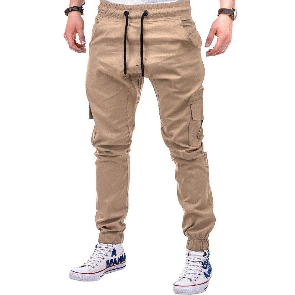 Pantaloni Sportivi Uomo,Moda Uomo Sport Puro Colore Bendare Sciolto Pantaloni della Tuta Coulisse Ansimare Cachi 1, L