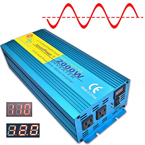 Cantonape Car Boat RV 2000W/4000W(Peak) Pure Sine Wave Power Inverter DC 12V to 110V AC with LCD Display
