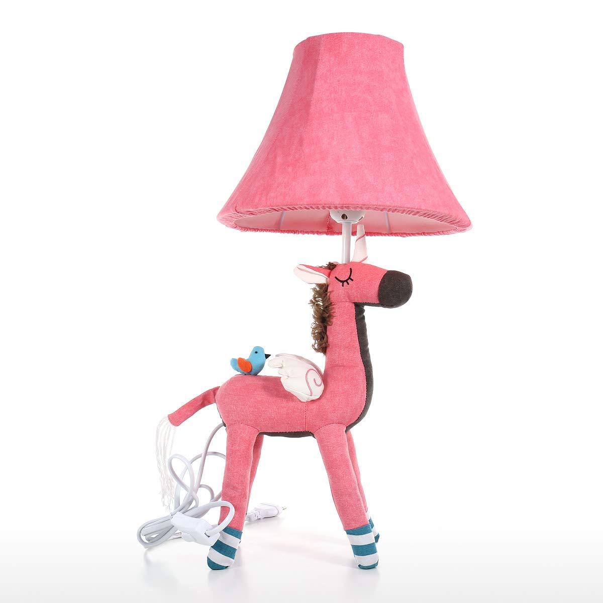 Hylotele Tooarts Unicorn Tischlampe Rosa EU-Stecker Dekorative Schreibtisch Tischlampe Tier Baumwolle Lampe f/ür Kinder mit Led-Birne