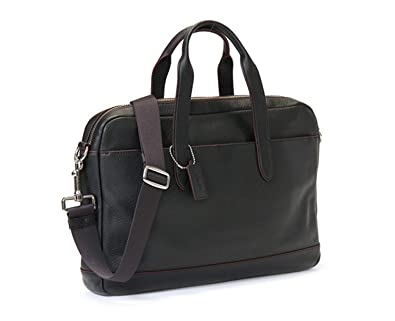 b7ad2cf4f COACH Men's Pebble Leather Hamilton Briefcase Crossbody Laptop Bag Black  Oxblood Red F11319
