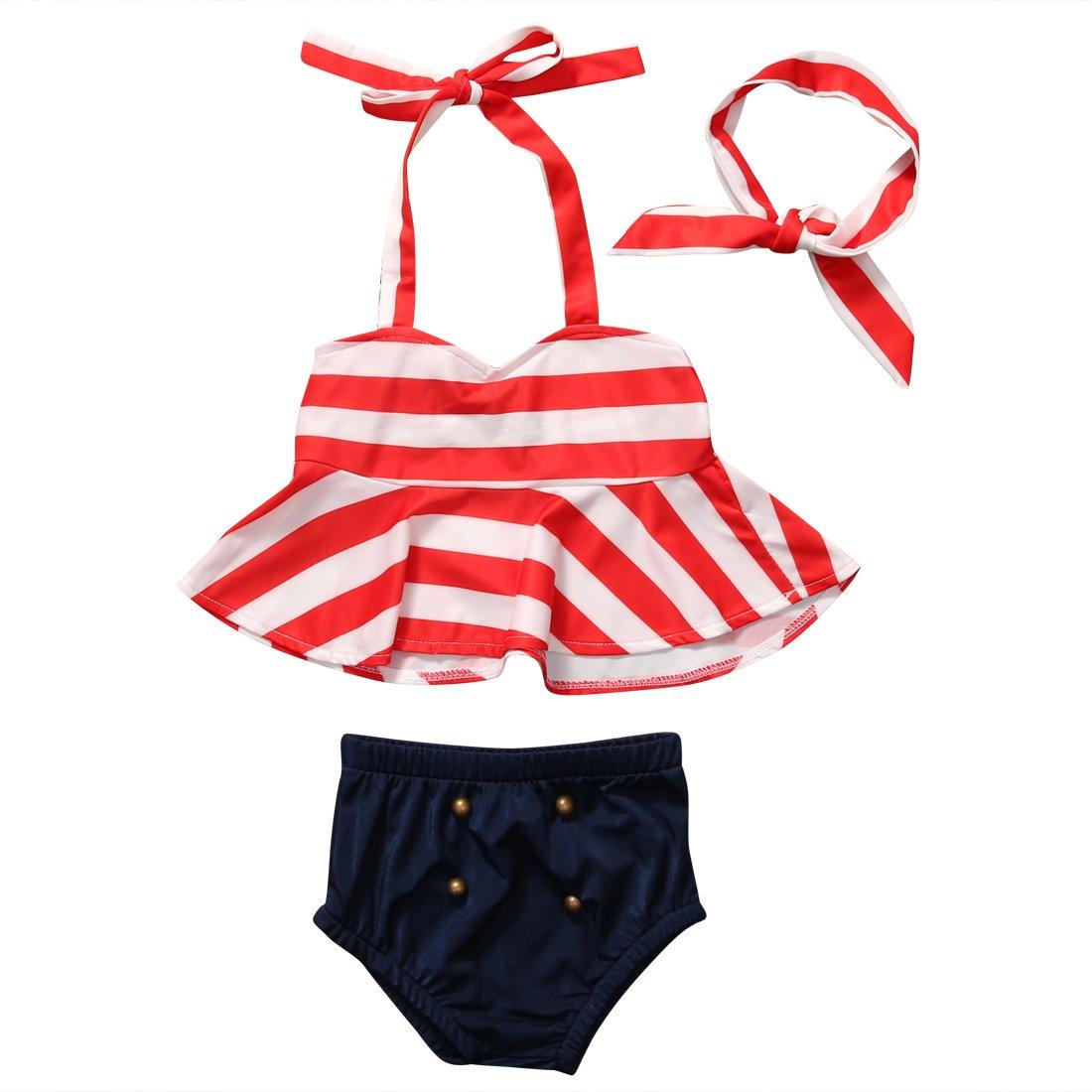Hirigin Baby Girls 3 Pcs Bikini Sets Striped Halter Bra Top+Bottom+Headband Swimwear FT16053