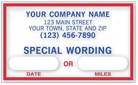 Checksimple Oil Change Stickers Static Cling Windshield Custom Text And Business Info 250 Stickers