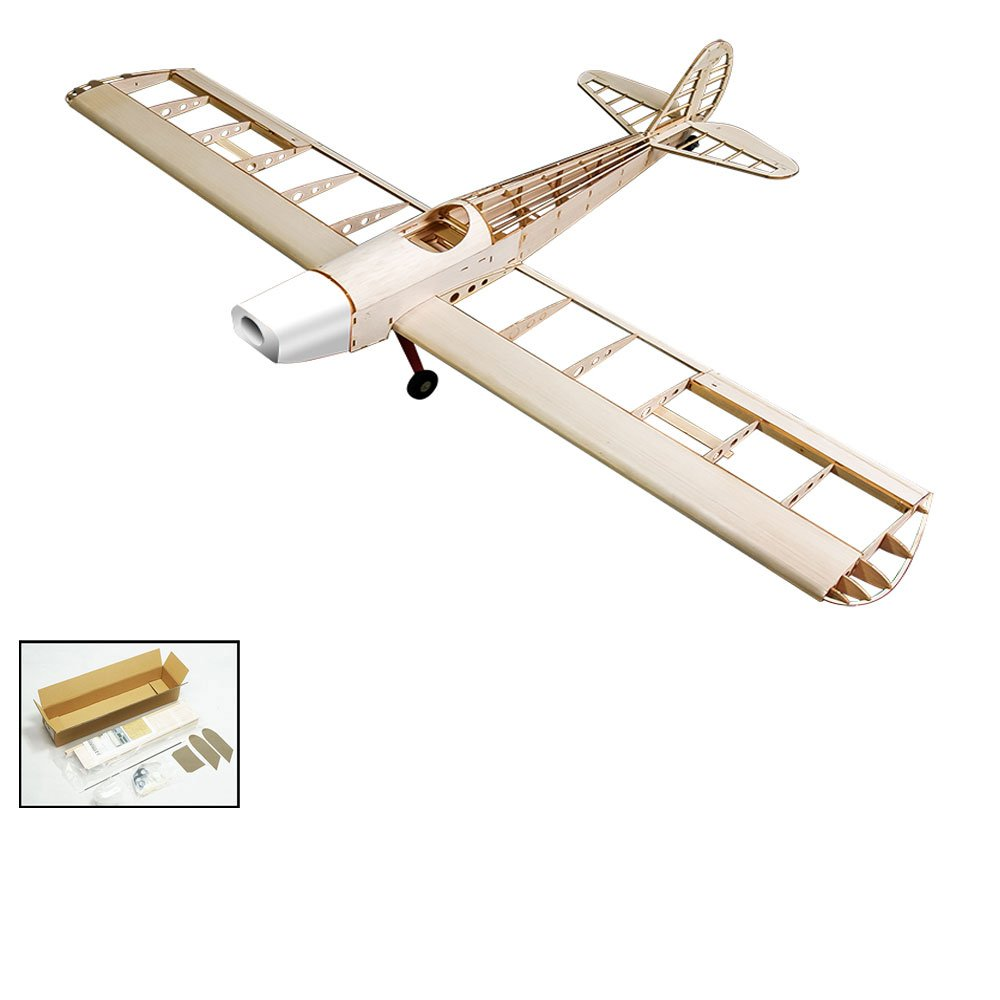 RC 4CH Balsawood Electric& Glow Powered Aircraft Space Walker by DW Hobby; 1230mm Balsa Laser Cut Kit Unassembled for Adults S1001